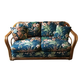 Vintage Rattan & Tropical Print Fabric Upholstered Loveseat
