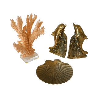 Brass Coastal Beach Style Table Vignette - S/4