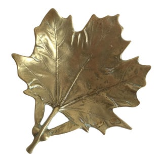 Vintage Brass Maple Leaf Dish