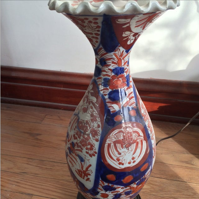 Image of Antique Chinese Red & Blue Porcelain Table Lamp