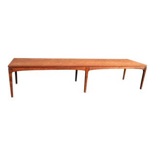 Mid-Century Danish Style Walnut Bench Coffee Table