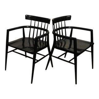 Paul McCobb Mid-Century Black Lacquer Arm Chairs - A Pair