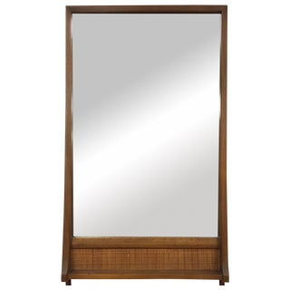MCM Walnut and Cane Mirror
