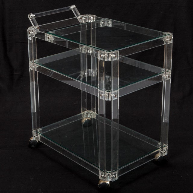 Image of Mid-Century Lucite And Glass Bar Trolley Cart