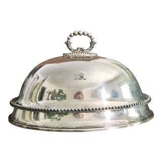 Antique English Silver Plate Food Dome With Armorial Boar Crest