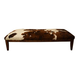 Brown & White Cowhide Chaise Lounge