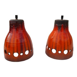 Vintage Red Glazed Pottery Hanging Lights - A Pair