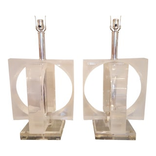 Monumental Seventies Modernist Lucite Lamps - A Pair
