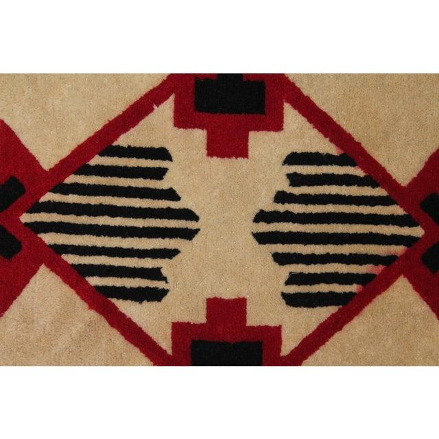 Image of 1930s Mounted Geometric Hand-Hooked Rug