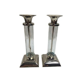 Silver & Glass Candleholders - A Pair