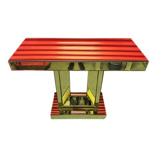 Gold Beveled Mirror Rolling Console Table
