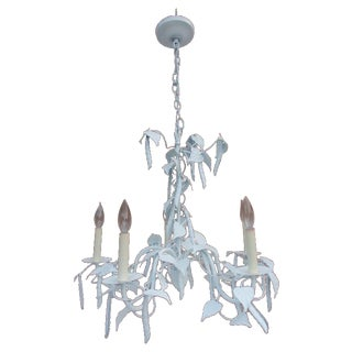 Hollywood Regency Faux Beans Palm Tree Chandelier