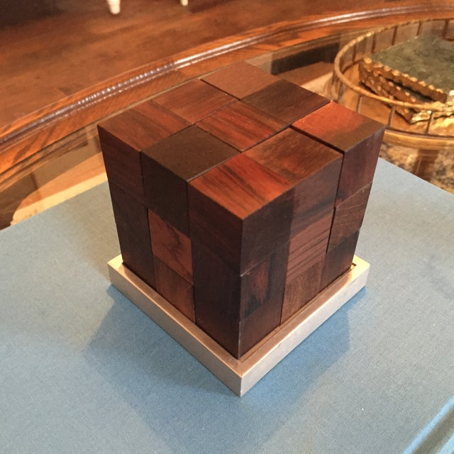 Mid Century Modern Danish Rosewood Teak Parker Brothers Cube Puzzle Game - Image 6 of 11