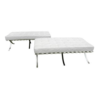 Leather & Chrome Barcelona Style Benches - A Pair