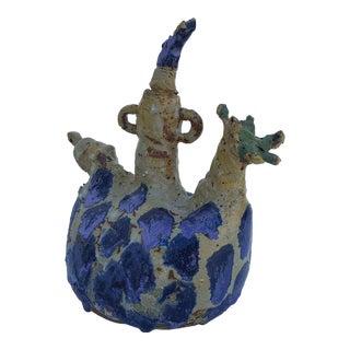Vintage Brutalist Texture Drip Glaze Lava Studio Pottery Vase
