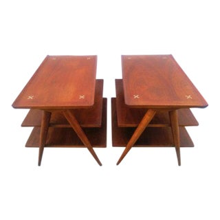 American of Martinsville Tiered Side Tables - A Pair