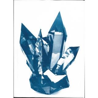 Blue Geometric Crystals Cyanotype Print