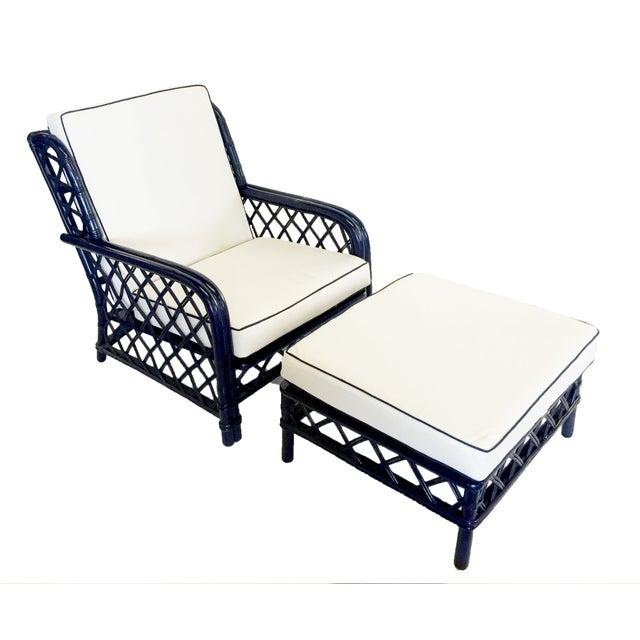 Image of Ficks Reed Navy Rattan Lounge Chair & Ottoman