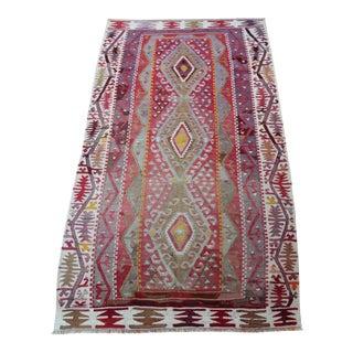 """Vintage Turkish Anatolian Wool Kilim Rug - 3'3"""" x 5'8"""""""