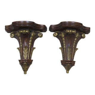 Vintage Carved Mahogany & Gold Leaf Wall Sconces - A Pair