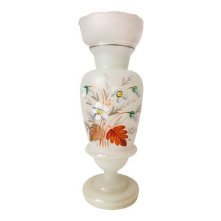 French Opaline Glass Hand Painted Vase