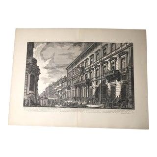 """Antique Architectural Lithograph After Piranesi, """"Veduta... Del Palazzo Dell'accademia"""""""