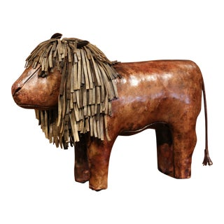 19th century English Foot Stool Lion Sculpture with Original Brown Leather