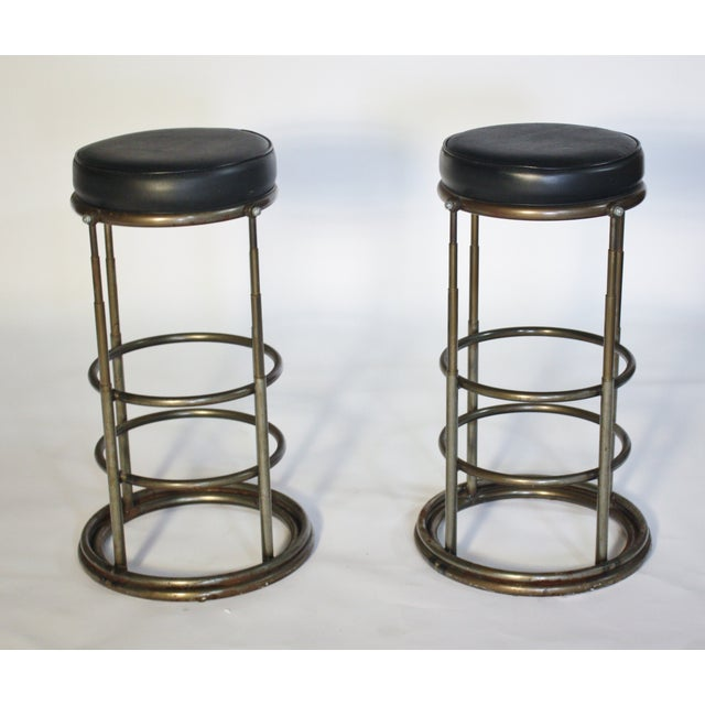 Image of Machine Age Industrial Bar Stools - A Pair