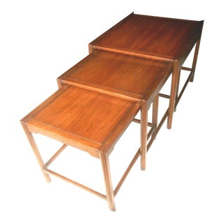 Mid-Century Modern 1960's Solid Walnut Nesting Tables by Heritage Furniture Co. - Set of 3