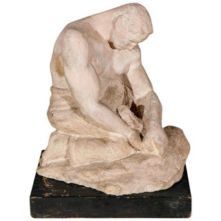 WPA Sculpture of Man in Thought
