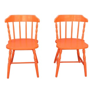 Early American Style Orange Chairs - A Pair
