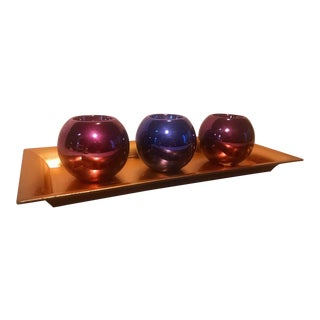 Purple & Blue Ceramic Round Ball Candle Holders Set - 4 Pcs.