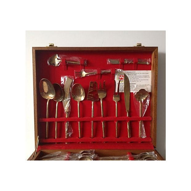 Bronze Bamboo Flatware Set with Case - Set of 101 - Image 4 of 8
