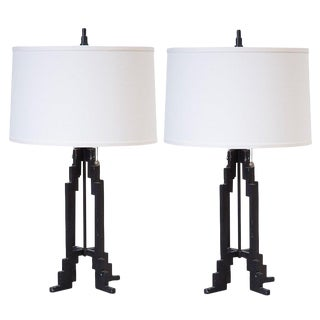 Art Deco Sculptural Iron Table Lamps by Stiffel
