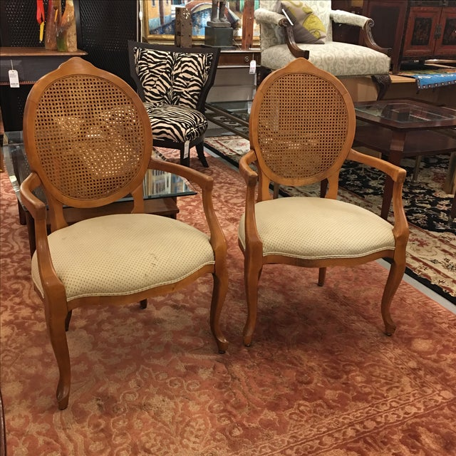 Cane Back Armchairs- A Pair - Image 3 of 10