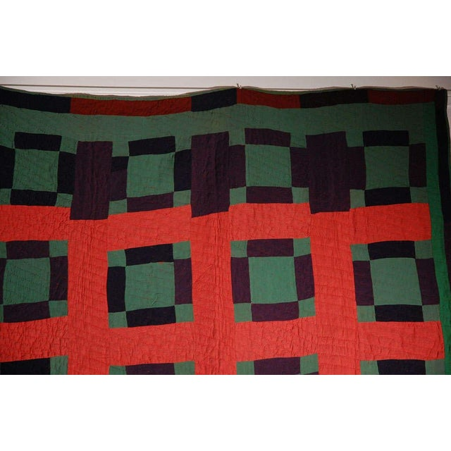 Image of Early 20thc Amish Nine Patch Wool Quilt From Pennsylvania