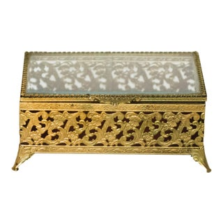 Vintage Brass Filigree Box