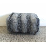Image of Mid-Century Faux Feather Fur Ottoman