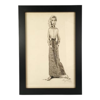 """Woman in Long Skirt"" Black & White Watercolor"