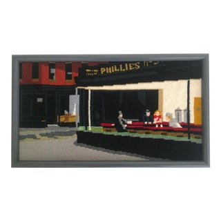 "Edward Hopper ""Nighthawks"" Framed Needlepoint Textile Art"