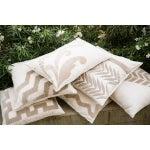 Image of Tan Velvet Appliqué Linen Pillow