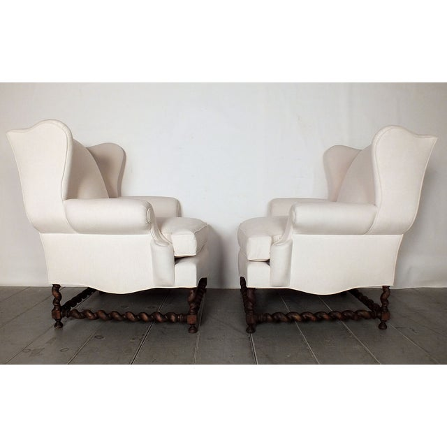 Antique Traditional Wingback Chairs - A Pair - Image 8 of 9