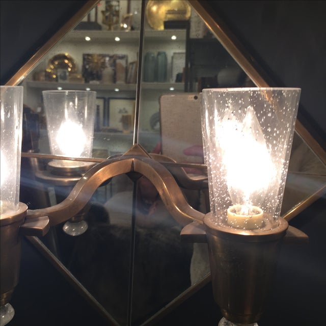Double Arm Mirrored Sconce - New - Image 6 of 9