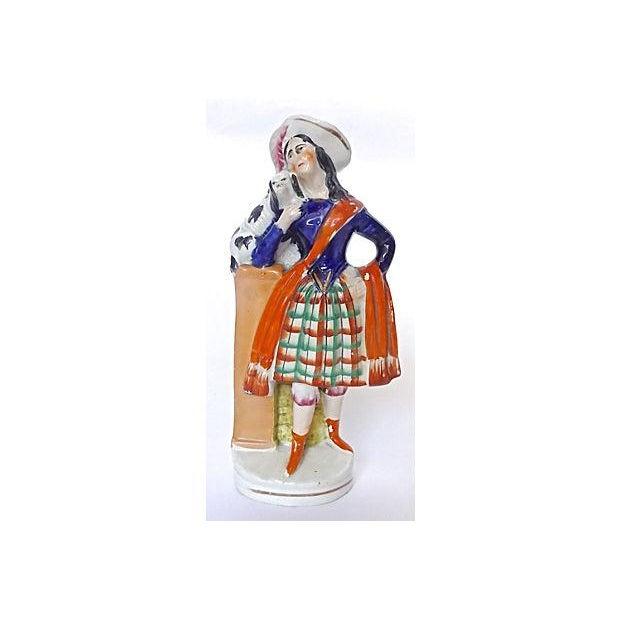 Antique English Staffordshire Woman & Dog Figurine - Image 5 of 5