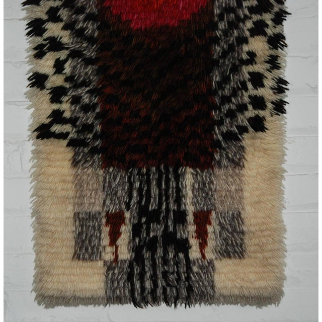 1960's Denna Rya Vintage Abstract Wool Tapestry/Rug -- 1′8″ × 2′9″ - Image 4 of 8