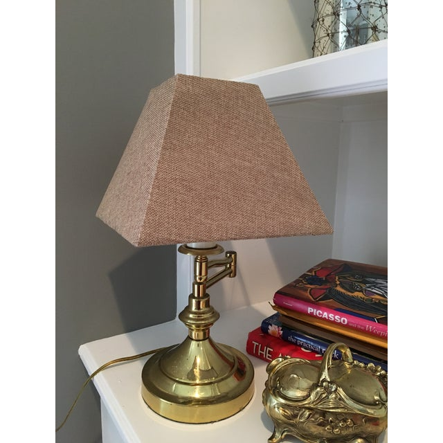 Vintage Mid-Century Swing Arm Brass Accent Lamp - Image 2 of 7