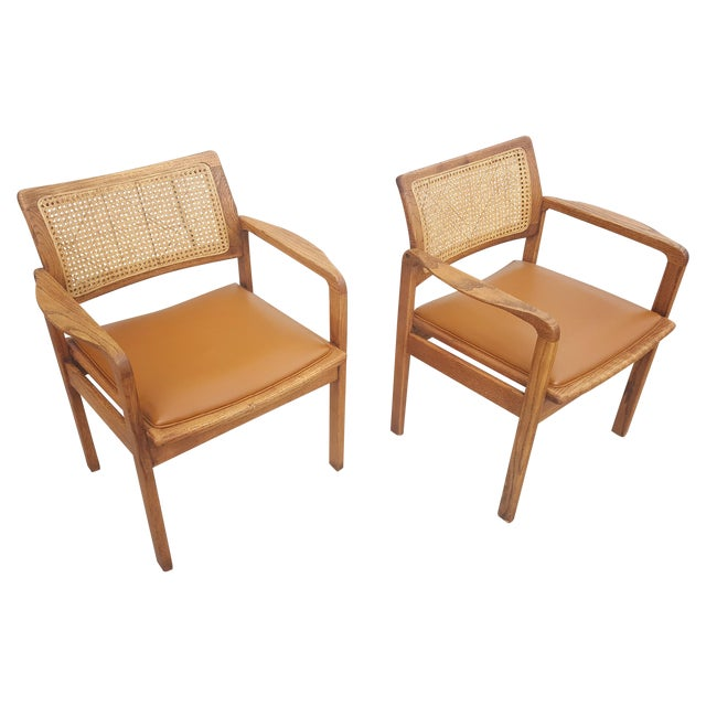 Vintage Rattan Back Guest Armchairs - Pair - Image 1 of 8