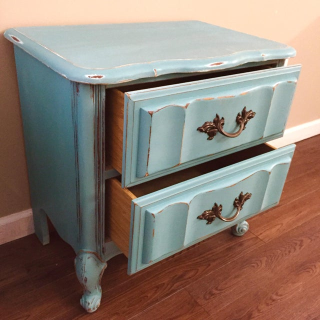Mint Blue French Provence Nightstands - A Pair - Image 9 of 11