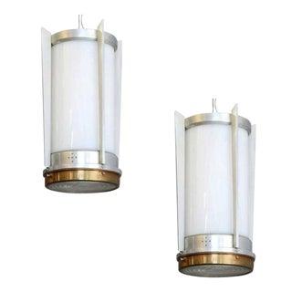 Mid Century Aluminum Cylinder Hanging Lamp, Circa 1960