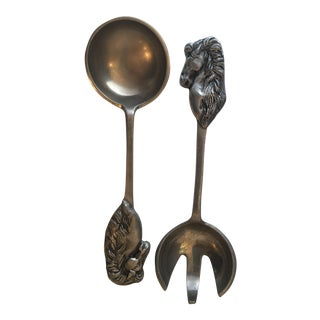 Pewter Horse Serving Set - A Pair